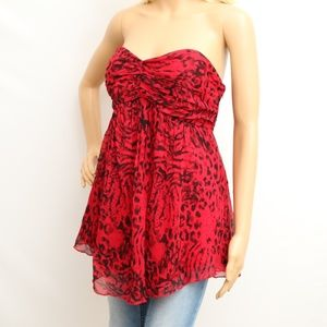 Express Hot Red Strapless Leopard Print Silk Top